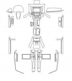 Toyota Alphard (2019) - Изготовление лекала интерьера авто. Продажа лекал (выкройки) в электроном виде на авто. Нарезка лекал на антигравийной пленке (выкройка) на авто.