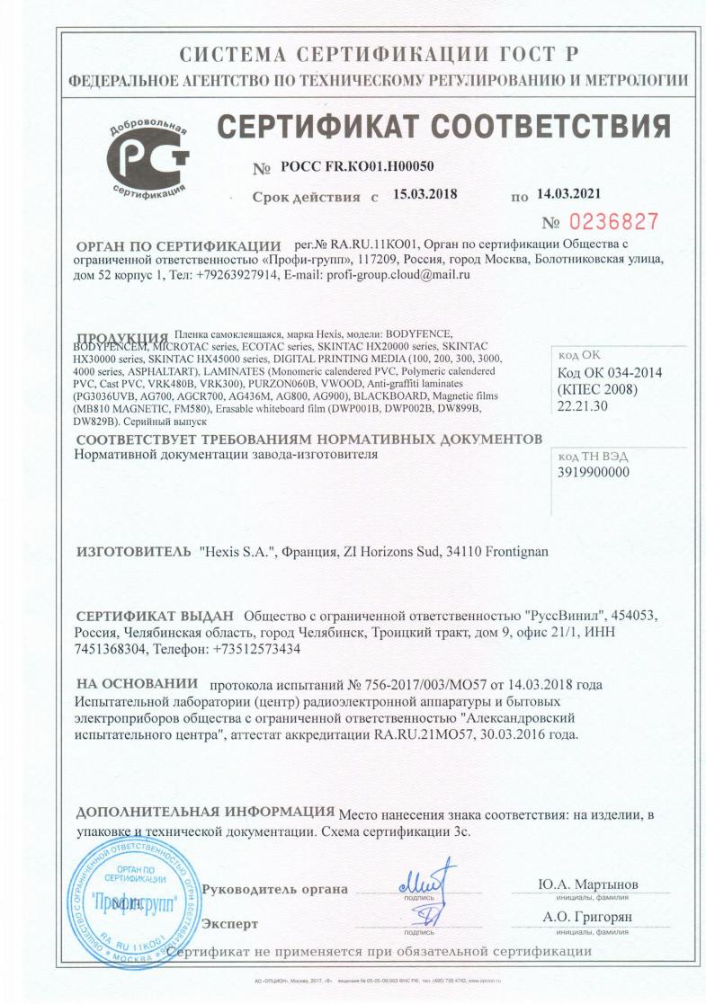 Сертификат соответствия HEXIS